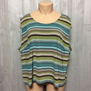 Blue and Brown Stripe Tank PLUS SIZE 32W